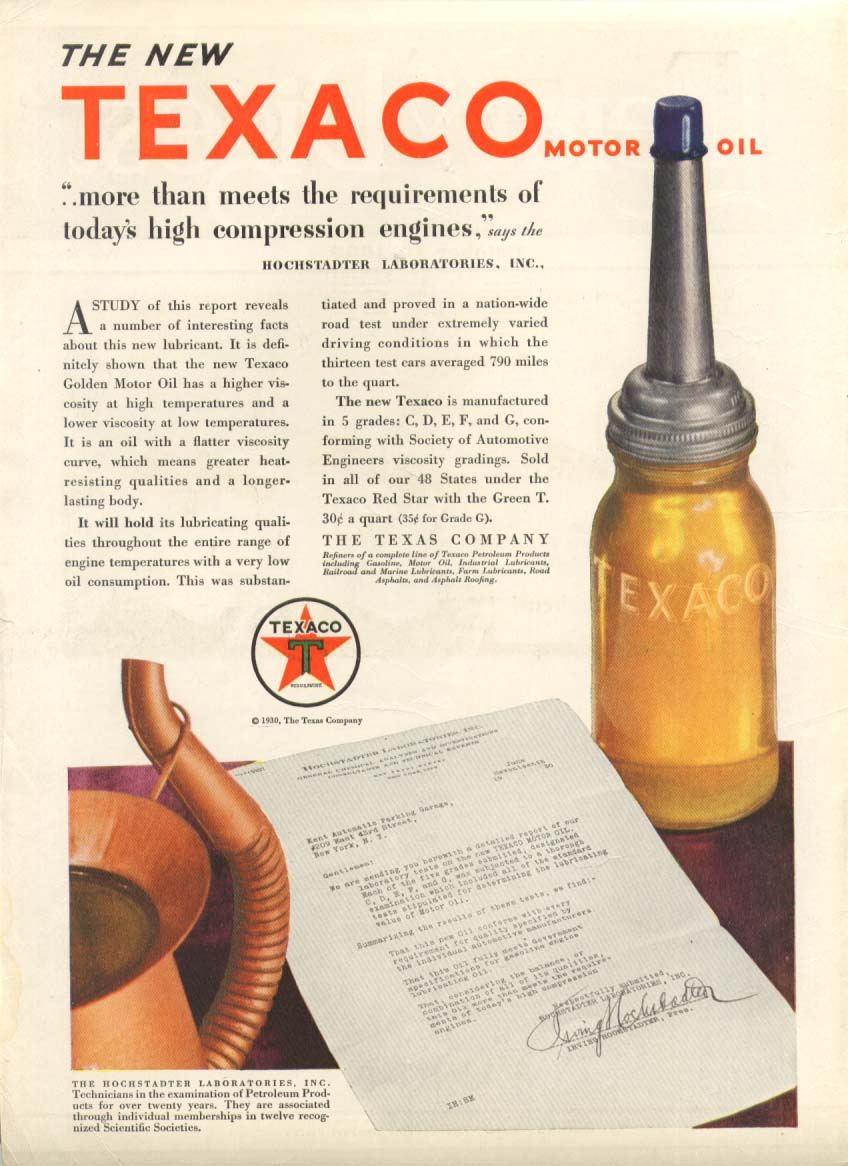 Image for Texaco Motor Oil more than meets requirements ad 1930