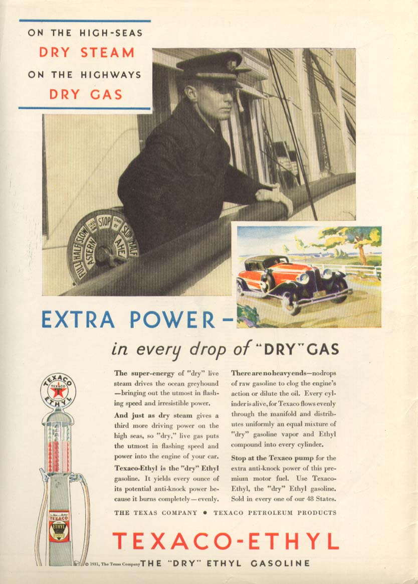 Image for Texaco-Ethyl Dry Extra Power in Dry Gas ad 1931