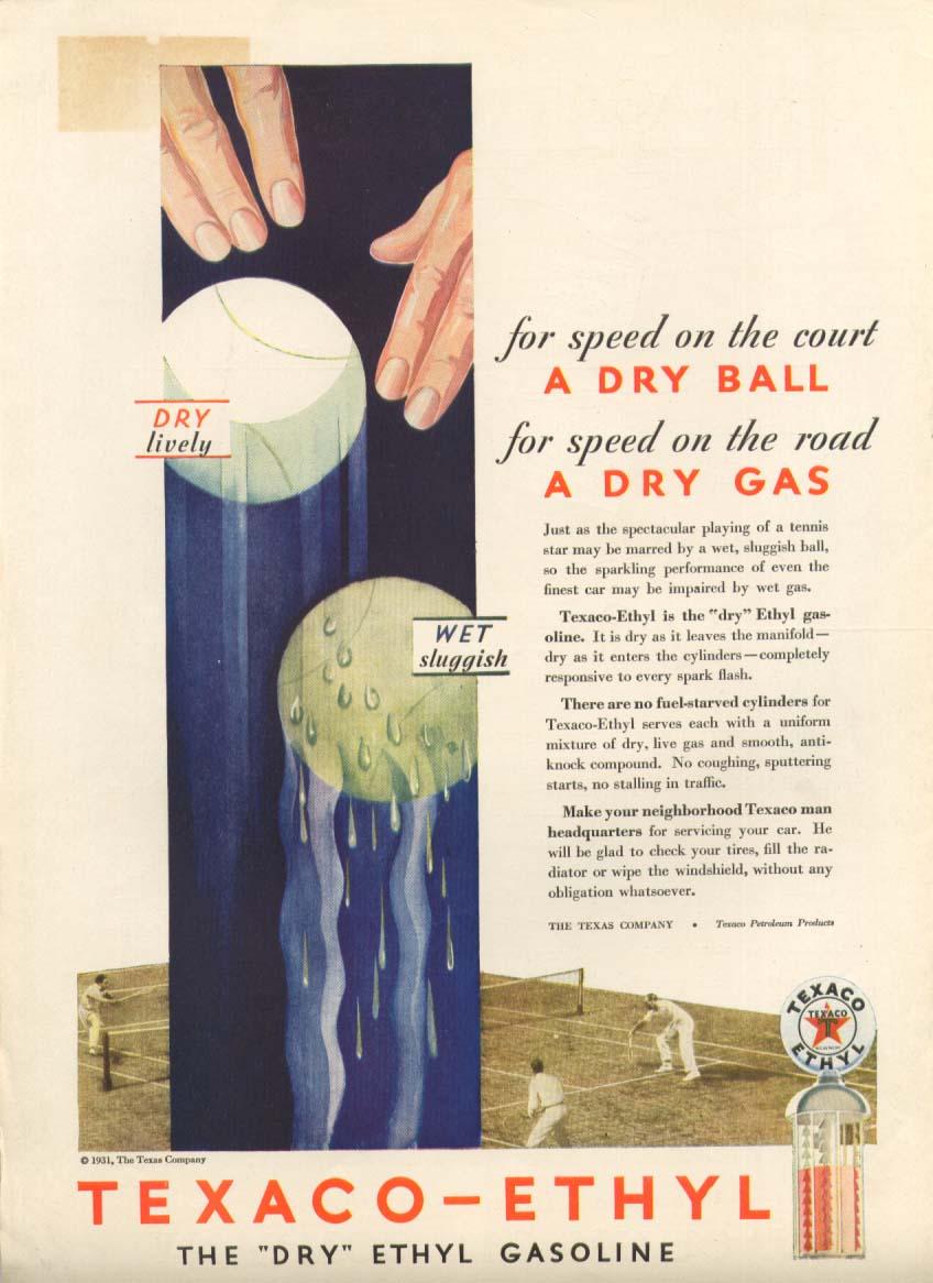 Image for Texaco-Ethyl Dry Ball, Dry Gas ad 1931
