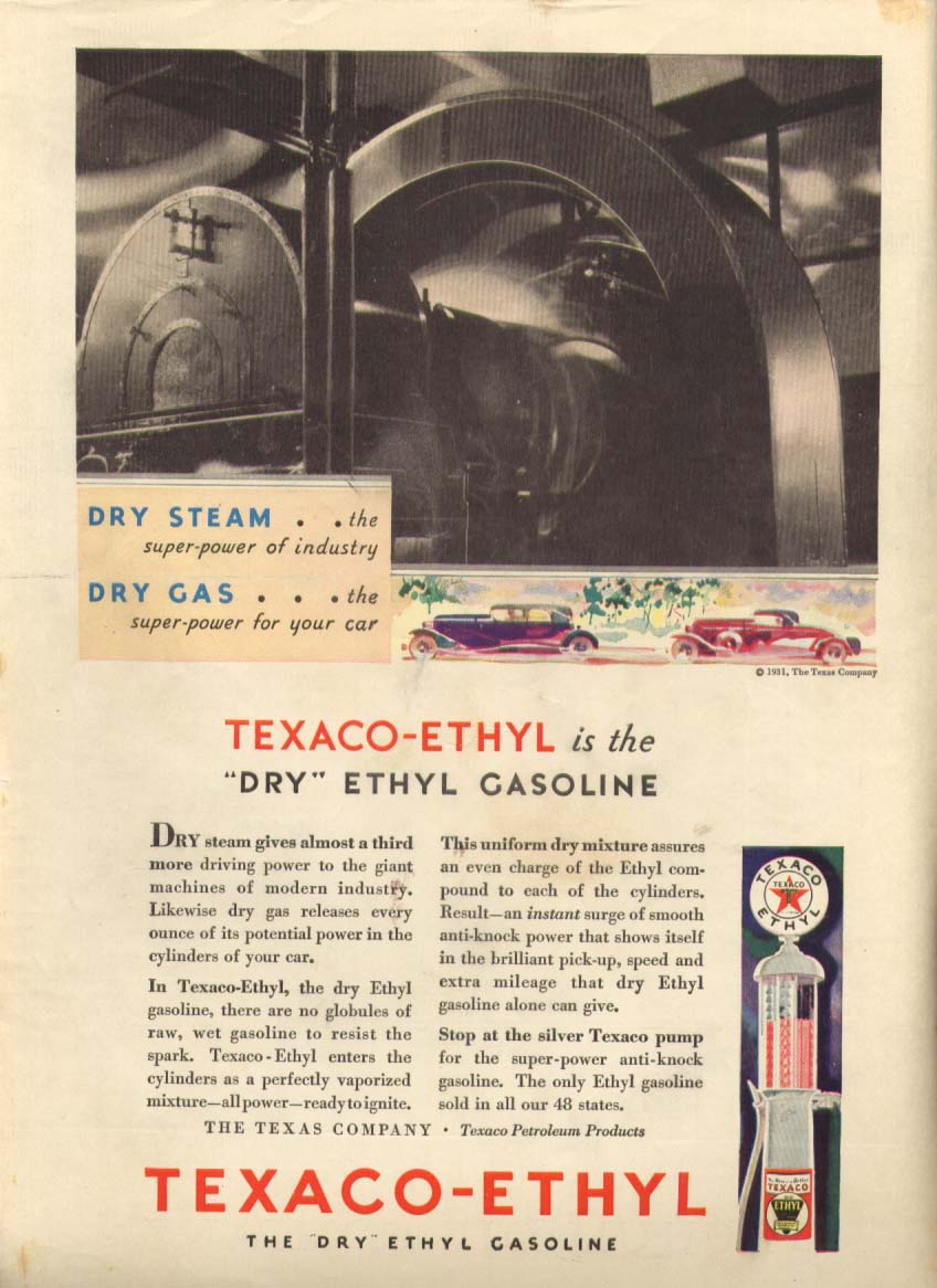 Image for Texaco-Ethyl Dry Steam Dry Gas ad 1931