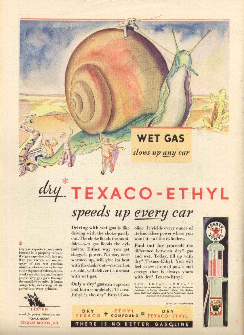 Image for Texaco-Ethyl speeds up every car ad 1931