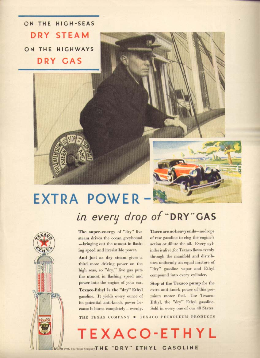 Image for Texaco Ethyl Extra Power in Dry Gas ad 1931