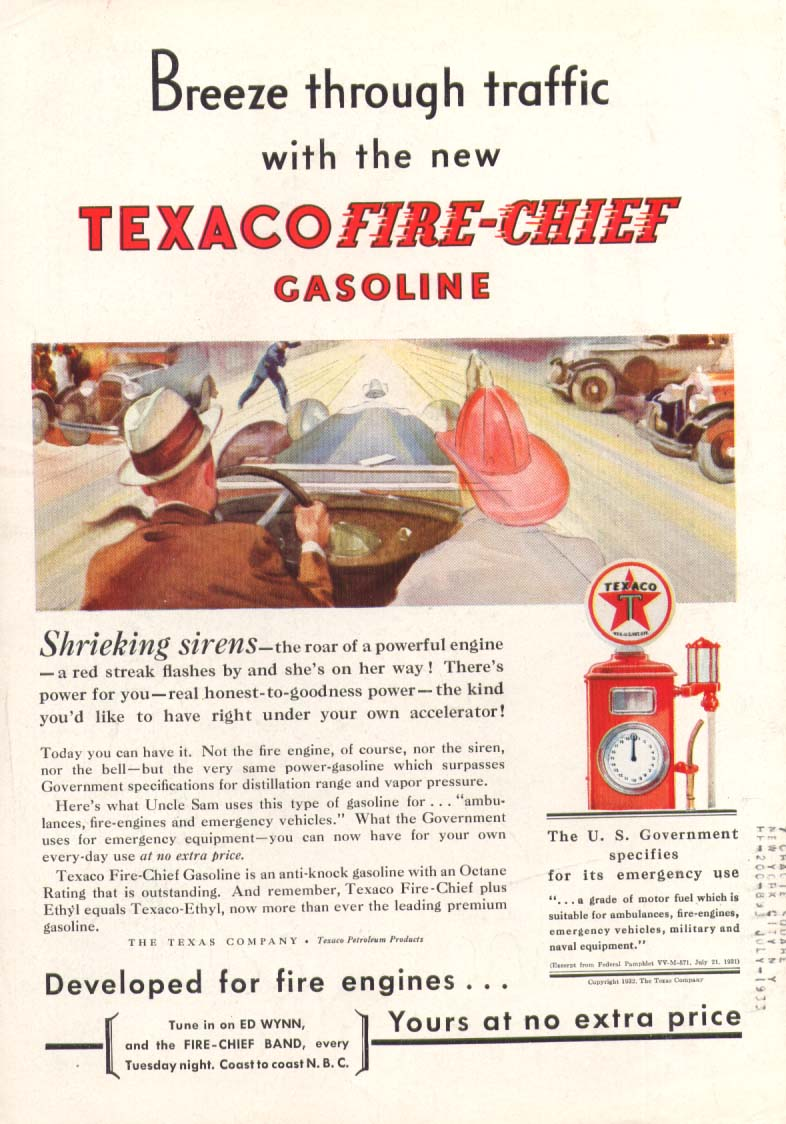 Image for Texaco Fire-Chief Gas Breeze through traffic ad 1932