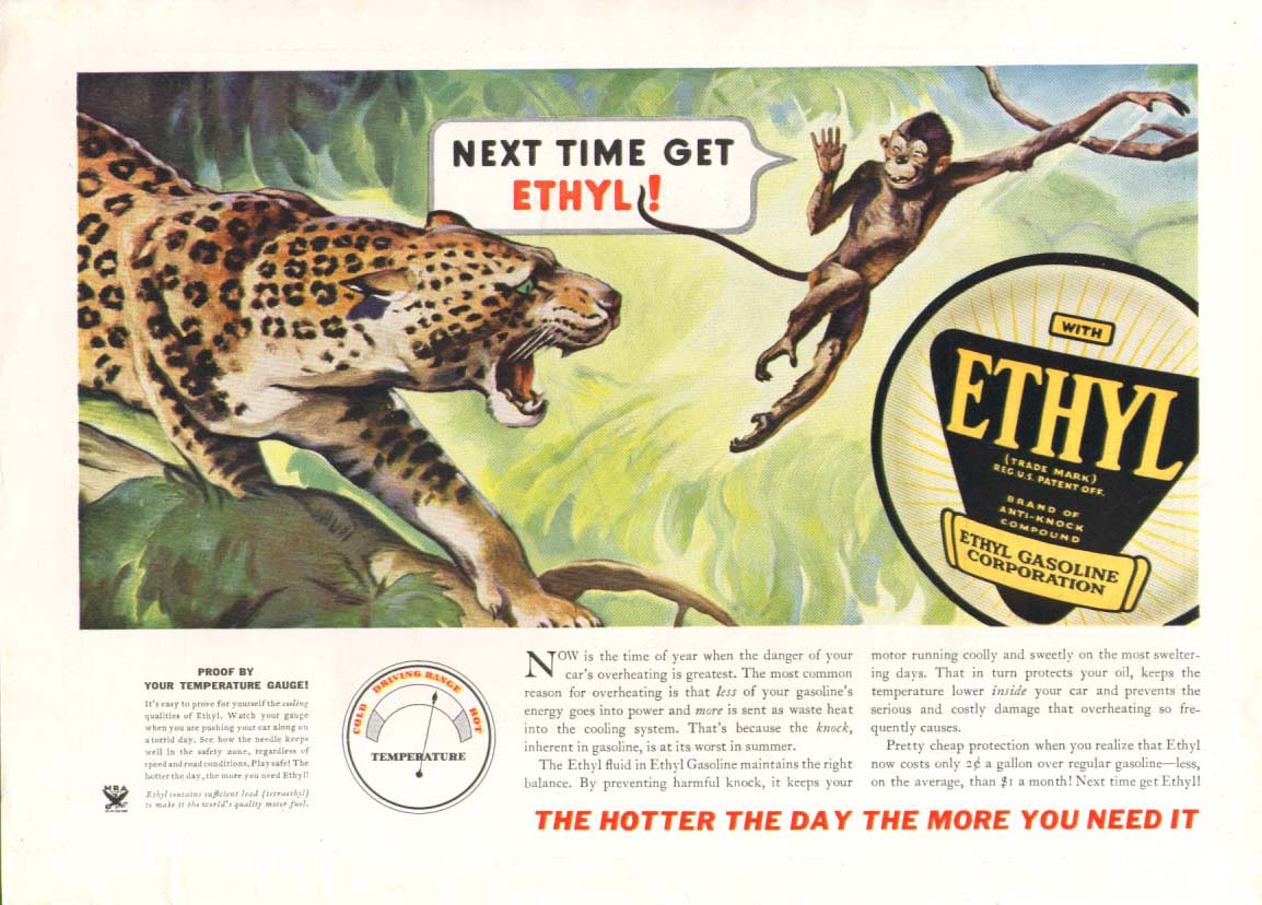 Ethyl Gasoline Leopard and Monkey ad 1934