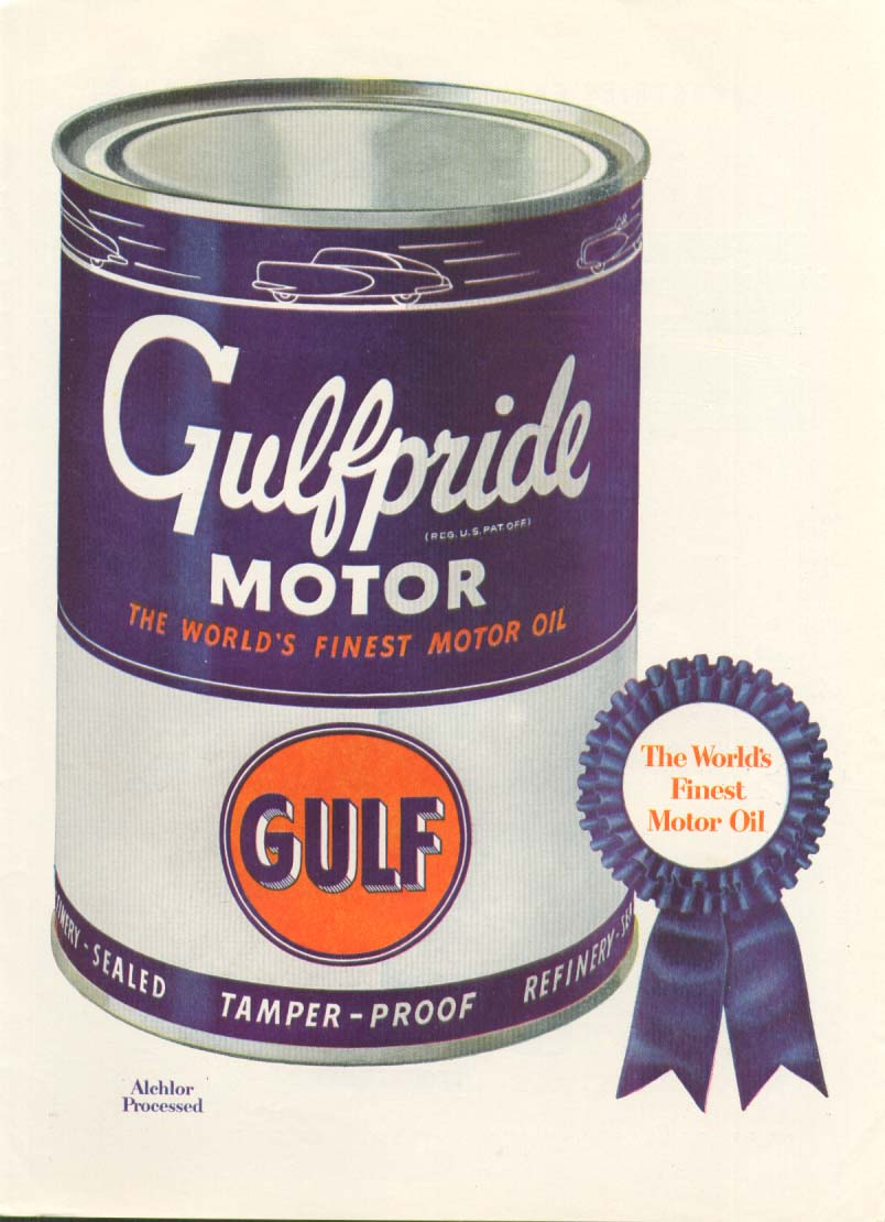 Gulf Gulfpride Motor Oil blue ribbon ad 1949