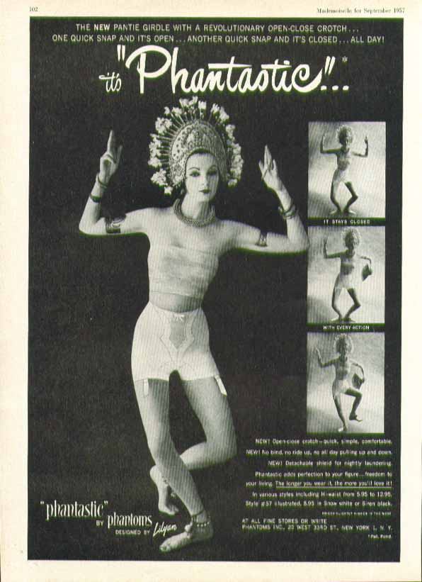 Image for It's Phantastic Lilyan Phantoms open-close crotch girdle ad 1957