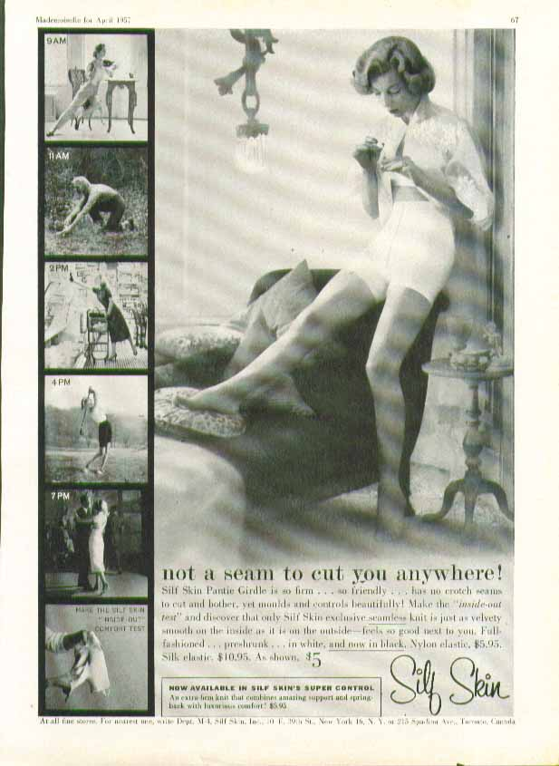 Image for Not a seam to cut you anywhere Silf Skin Girdle ad 1957