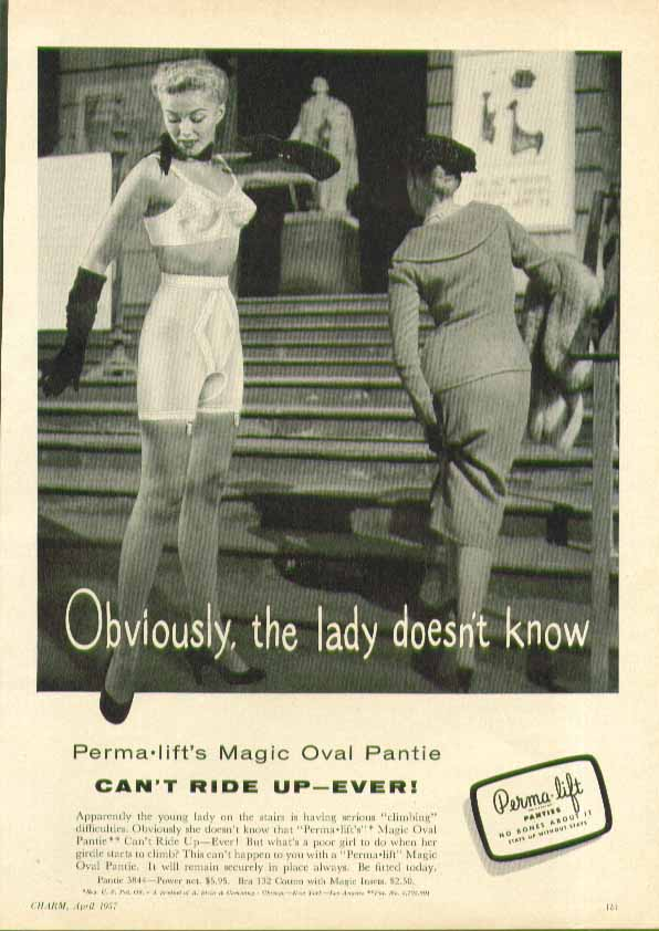Image for Obviously, the lady doesnt know Perma-Lift Magic Oval Pantie Girdle ad 1957