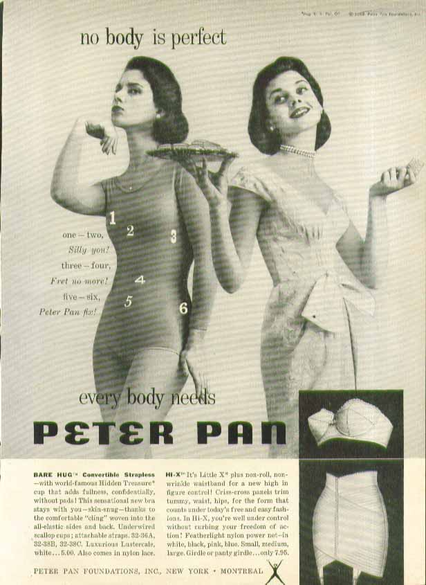 Image for No body is perfect - everybody needs Peter Pan Bra & Girdle ad 1958