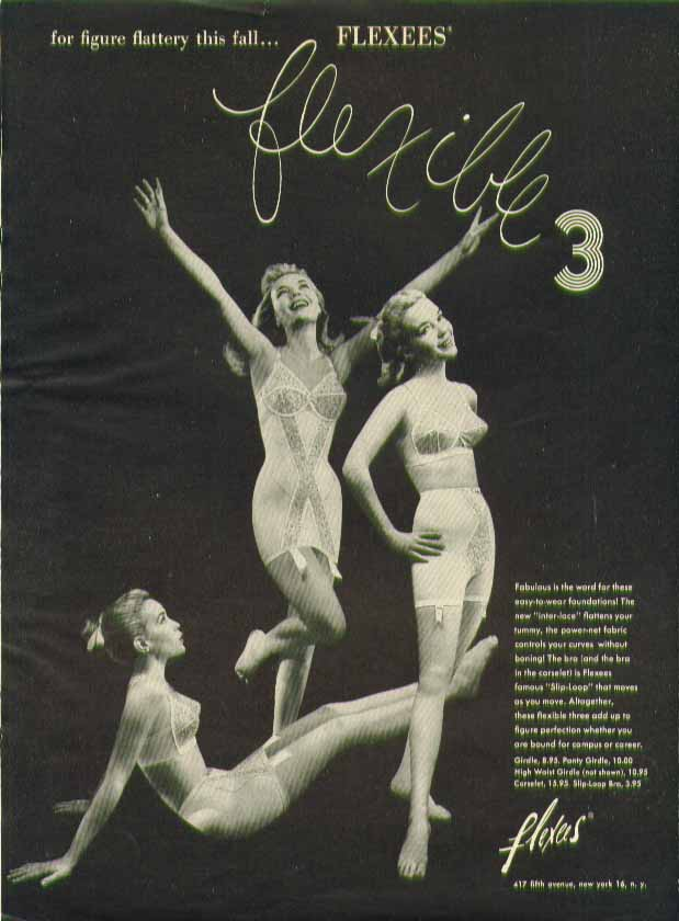 Image for For figure flattery this fall Flexees Flexible 3 girdle ad 1958