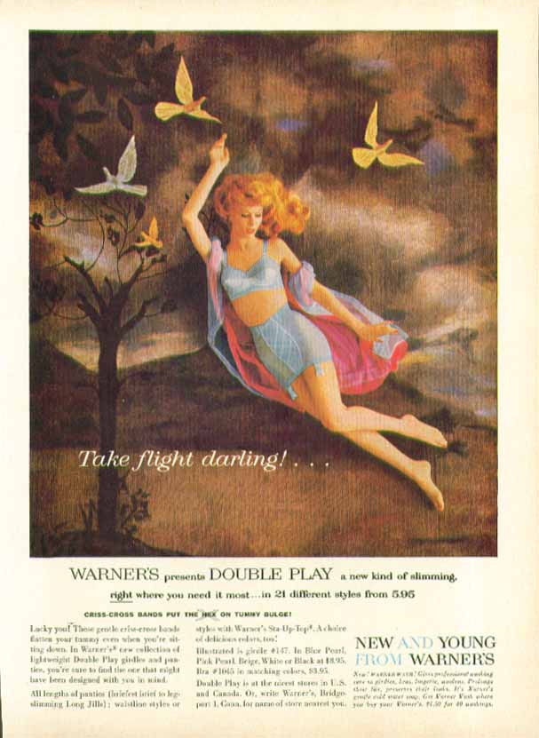 Image for Take flight darling! Warner's Double Play Girdle ad 1959
