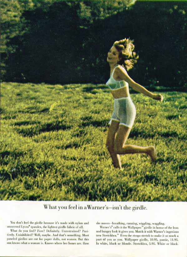 Image for What you feel in the Warner's isnt the girdle Wallpaper Girdle ad 1963