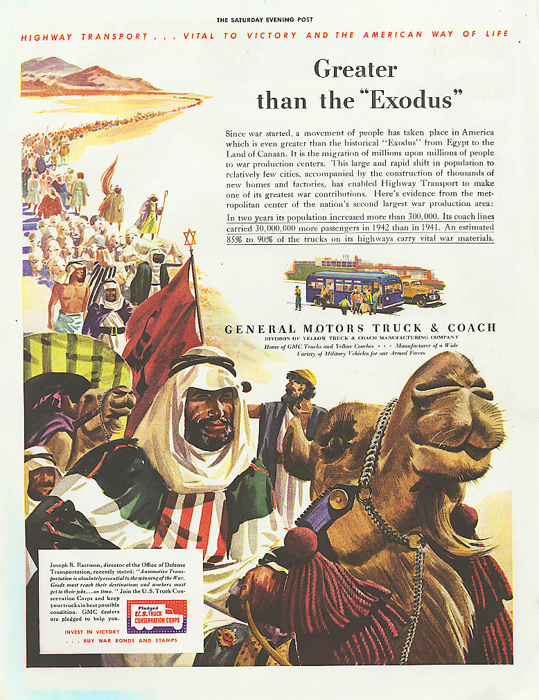 Greater than the Exodus GMC truck & bus ad 1943