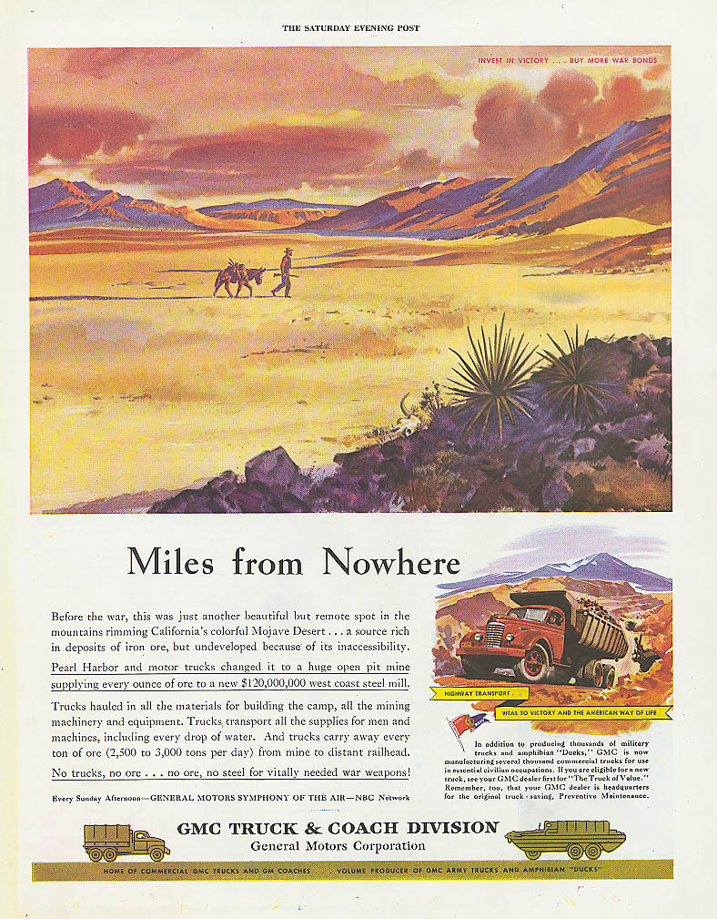 Miles from Nowhere GMC mining dumptruck ad 1944