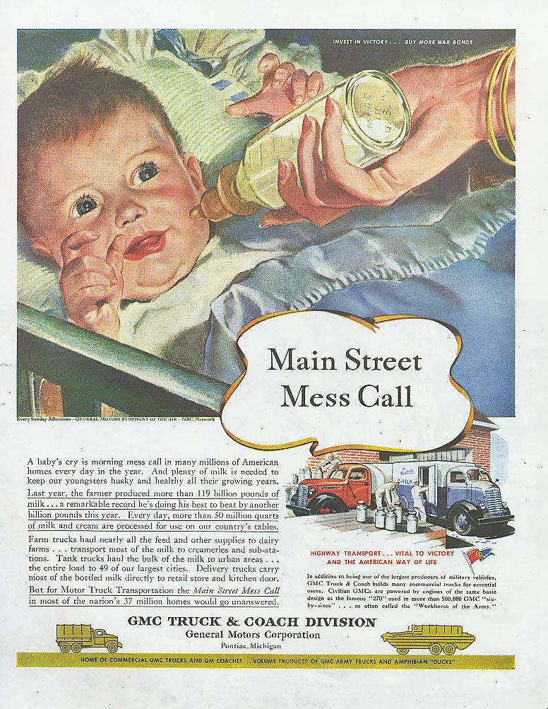 Main Street Mess Call GMC milk truck ad 1945