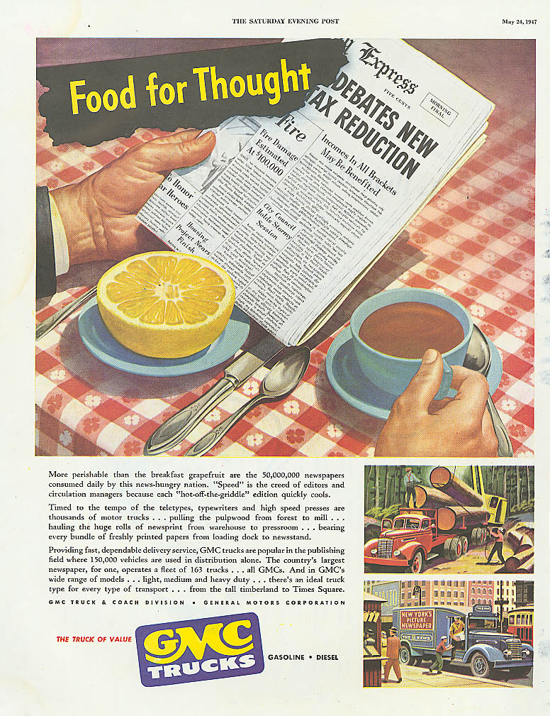 Food for Thought GMC logging newspaper truck ad 1947