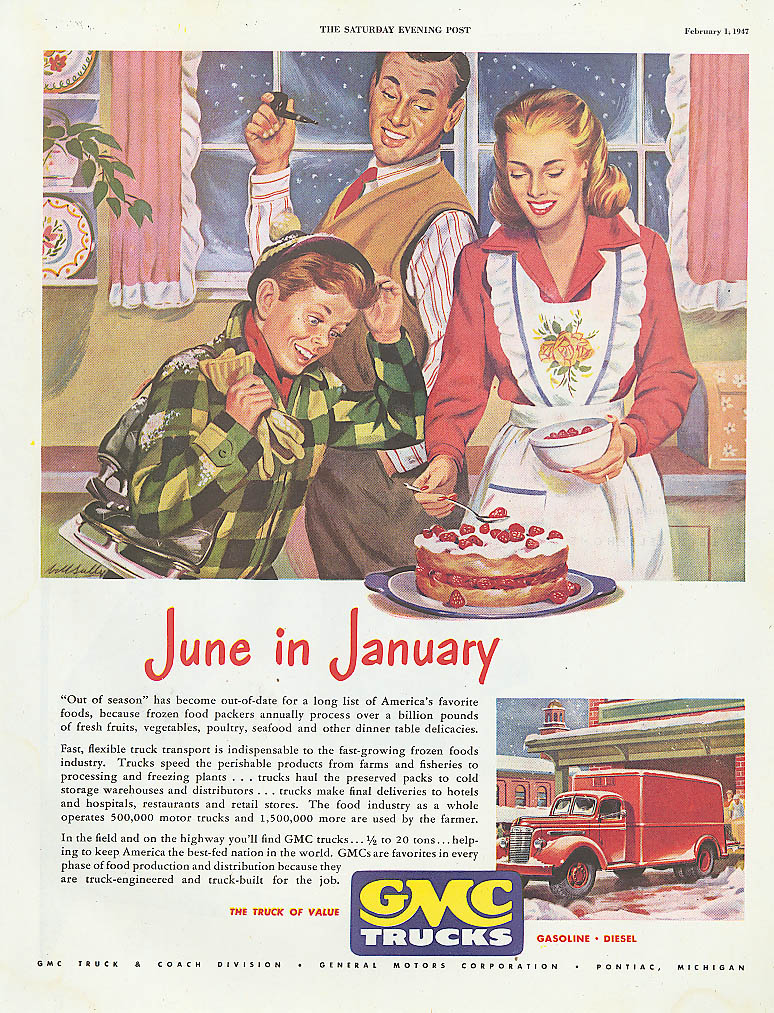 June in January GMC refrigerated truck ad 1947