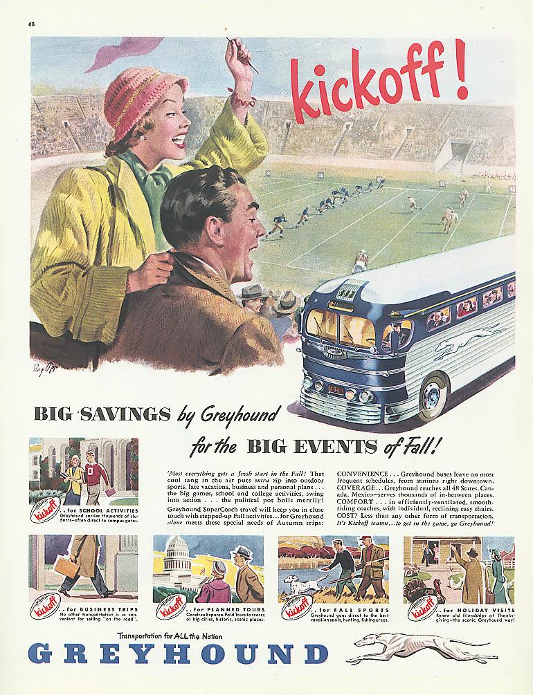 Kickoff! Big Savings! 1948 Greyhound bus ad football