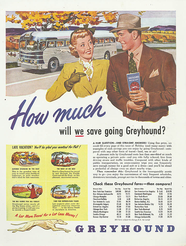 How much will we save? 1949 Greyhound bus ad