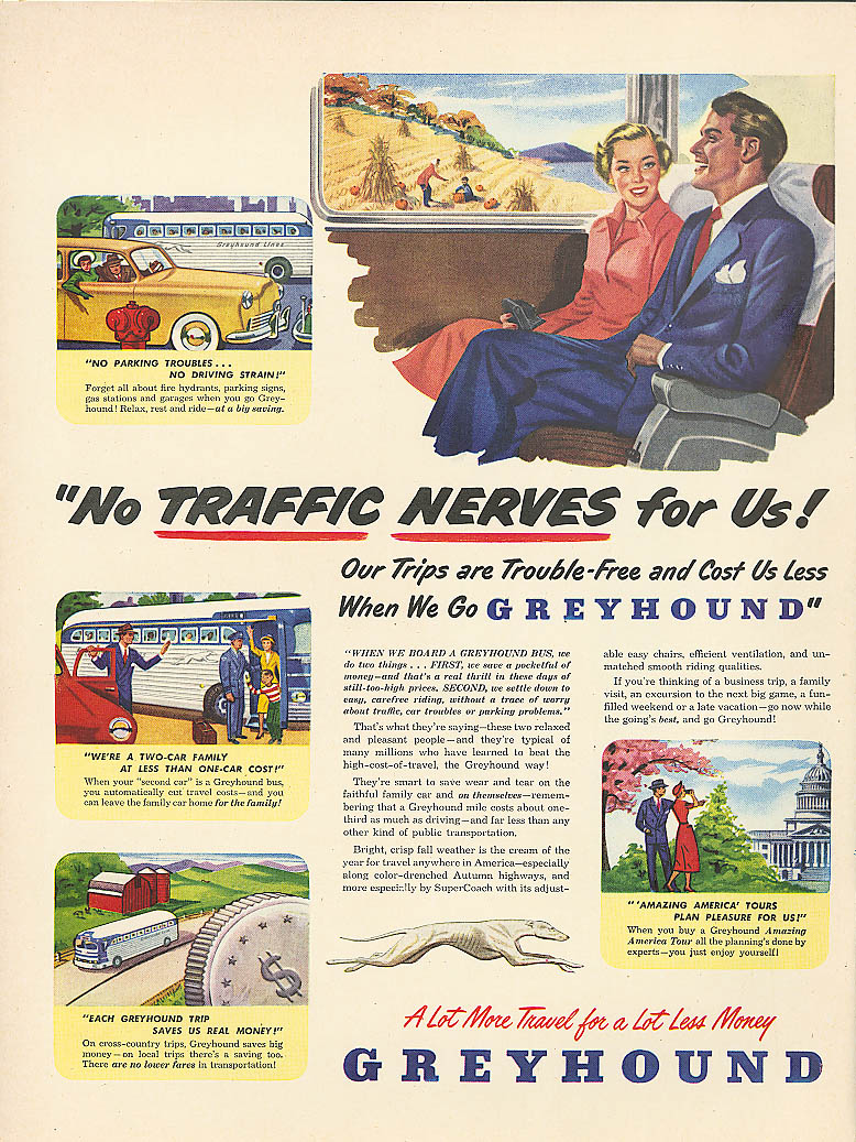 No traffic nerves for us! 1949 Greyhound bus ad