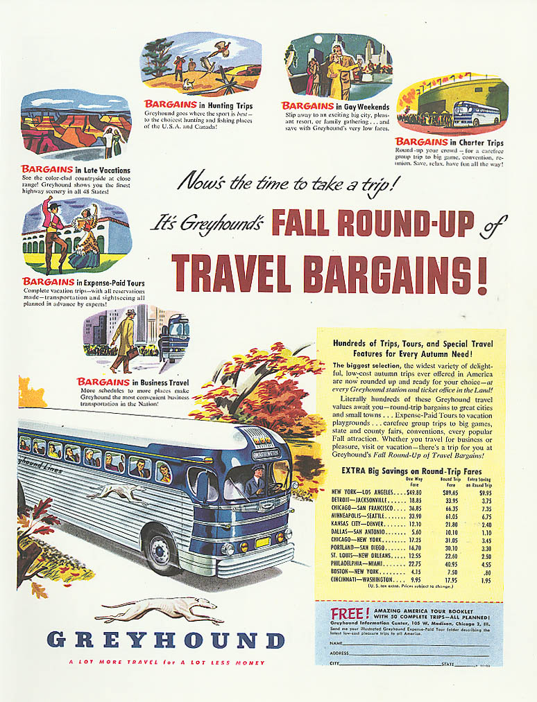 Fall Round-Up Travel Bargains! 1950 Greyhound bus ad