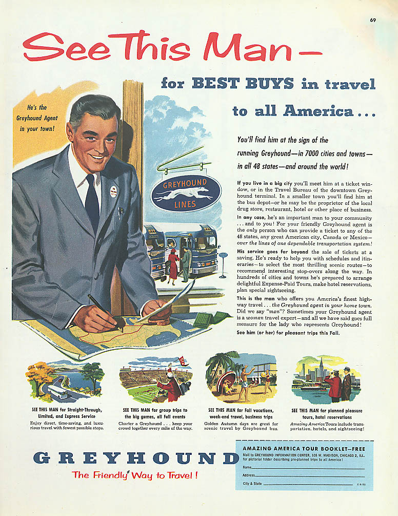 See This Man for Best Buys 1952 Greyhound bus ad