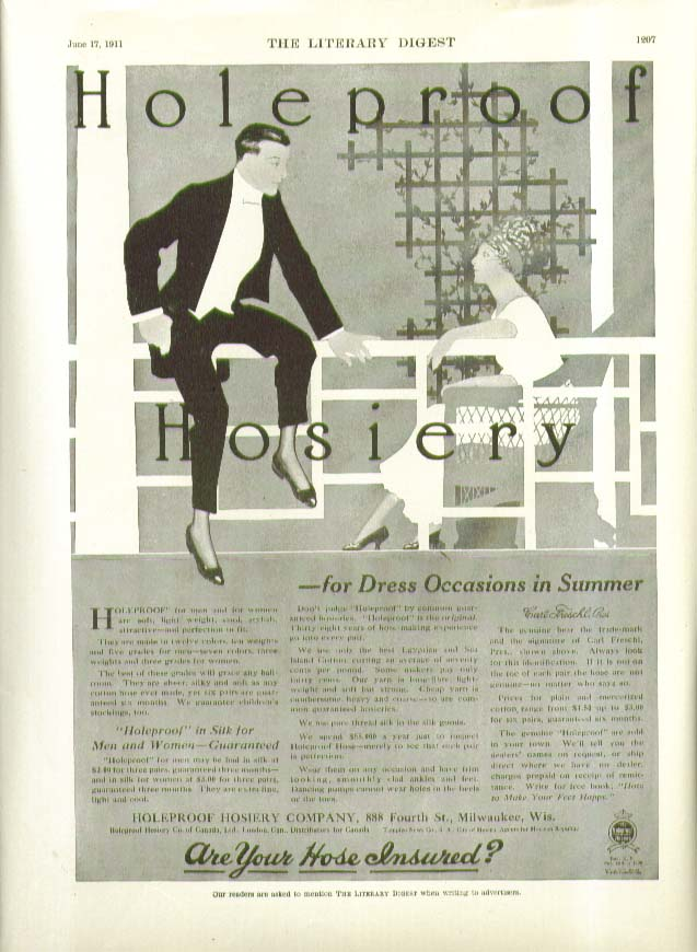 For dress occasions in summer Holeproof Hosiery ad 1911