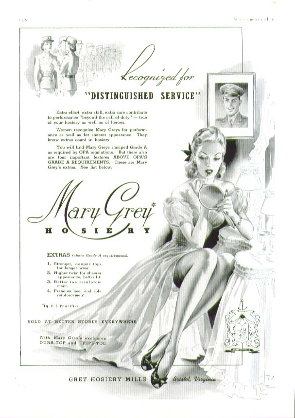 Recognized for Distinguished Service Mary Grey hosiery ad 1943