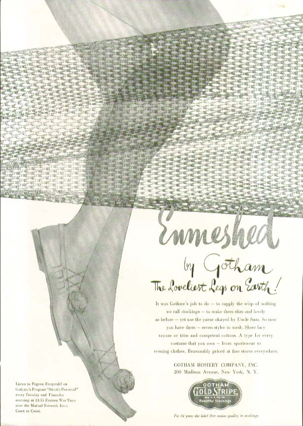 Enmeshed by Gotham The Loveliest Legs on Earth hosiery ad 1943