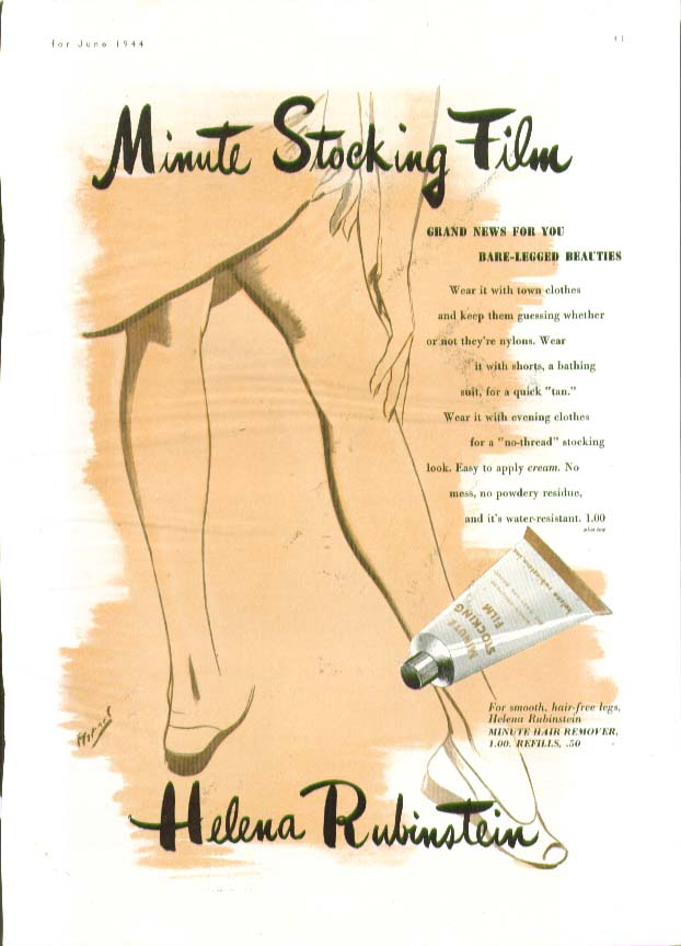 Minute Stocking Film for Bare-Legged Beauties Helena Rubinstein ad 1944