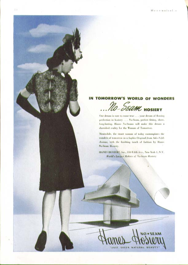 In tomorrow's world of wonders Hanes No-seam Hosiery ad 1944