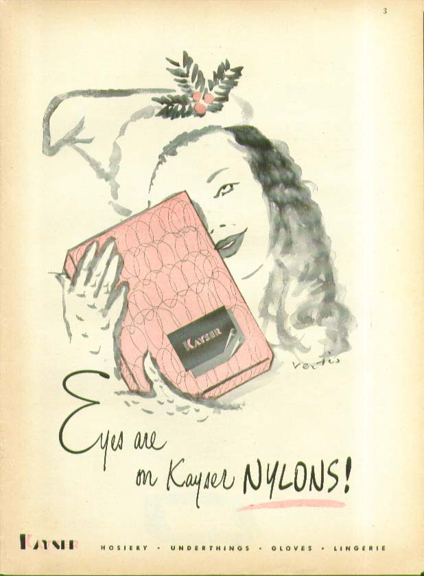 Eyes are on Kayser Nylons! hosiery ad 1945 Vertes art