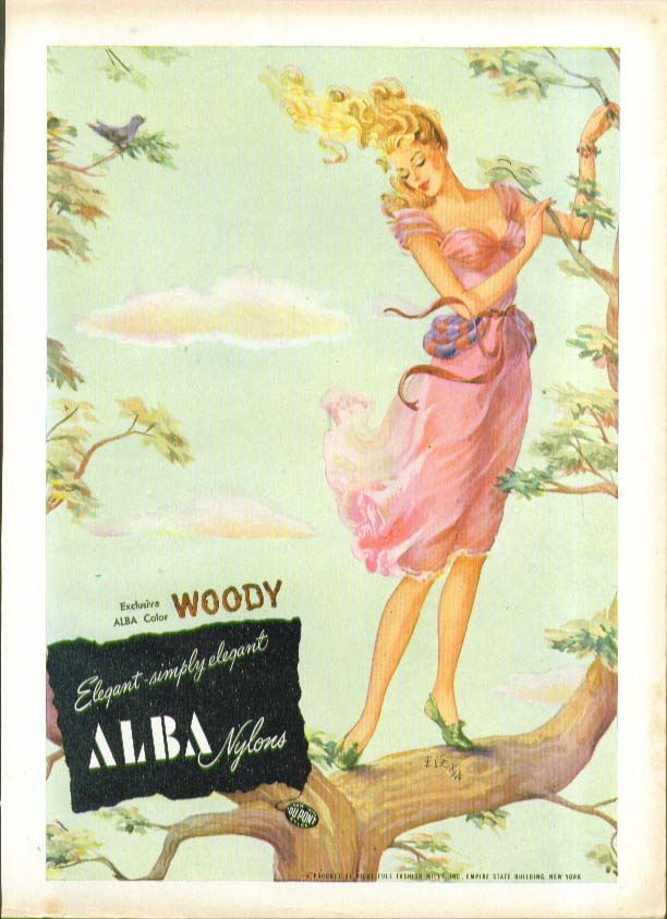 Exclusive color woody Elegant - simply elegant Alba Nylons hosiery ad 1947