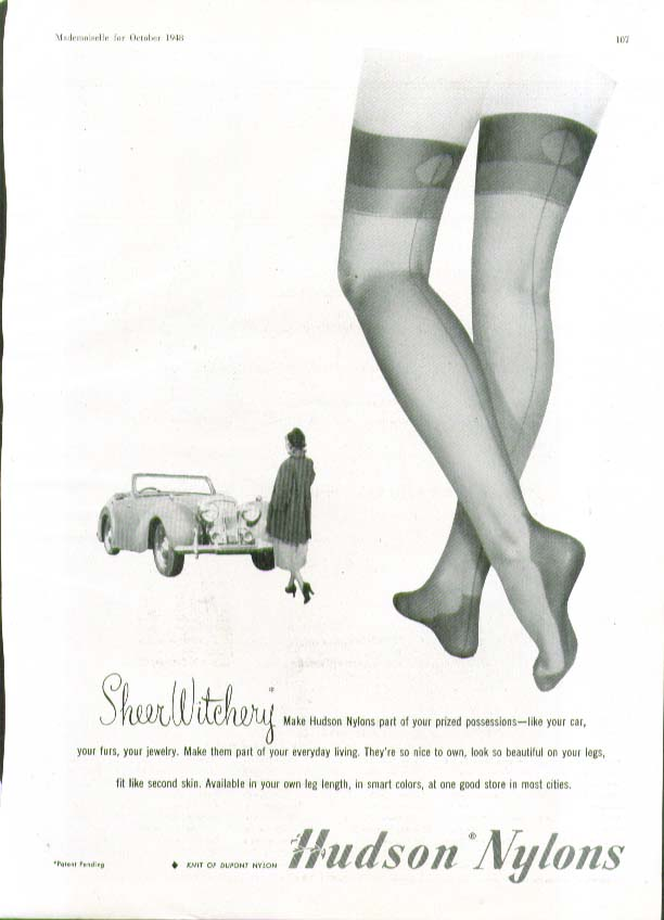 Sheer Witchery part of your prized posessions Hudson Nylons hosiery ad 1948