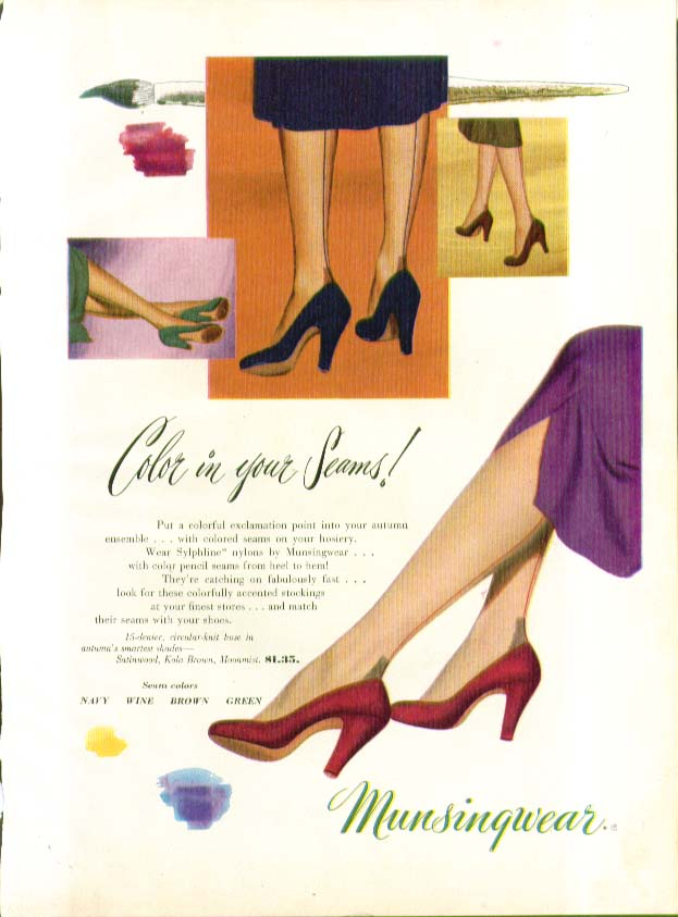 Color in your seams! Munsingwear Sylphline hosiery ad 1950