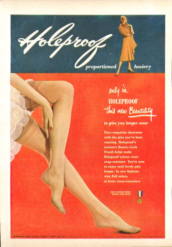 Only in Holeproof Proportional Hosiery this new Beautality hosiery ad 1951