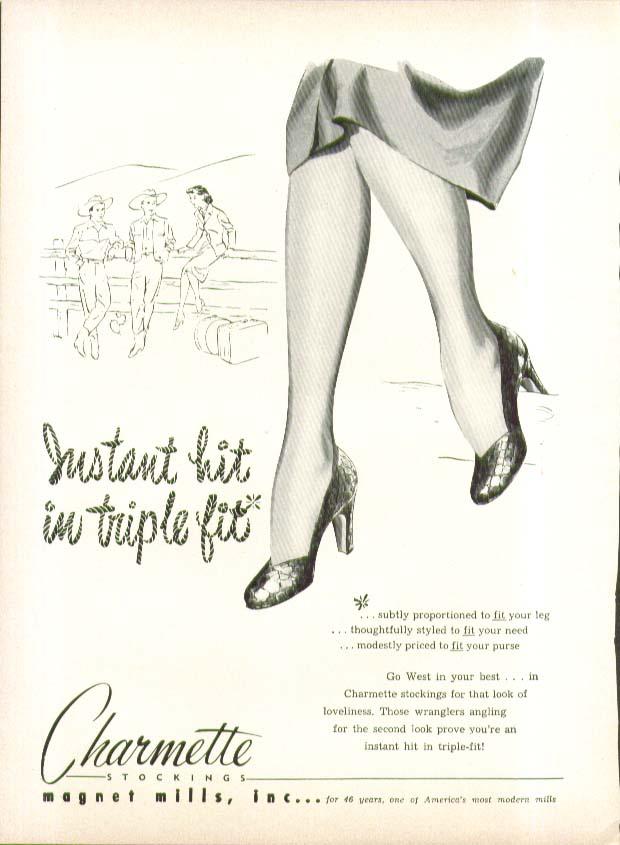 Instant hit in triple fit Charmette Stockings hosiery ad 1951