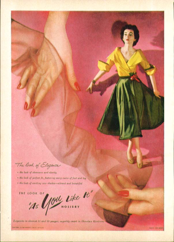 The look of elegance The look of As You Like It hosiery ad 1951