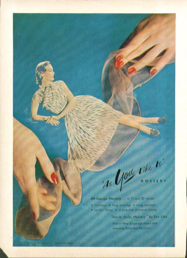 As You Like It hosiery 60-Gauge in 15 & 20 denier ad 1951
