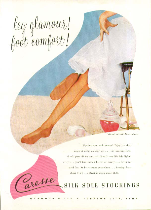 Leg glamour! Foot comfort! Caresse Silk Sole Stockings hosiery ad 1951