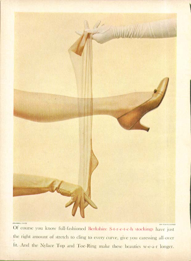 You know full-fashioned Berkshire S-t-r-e-t-c-h stockings hosiery ad 1955