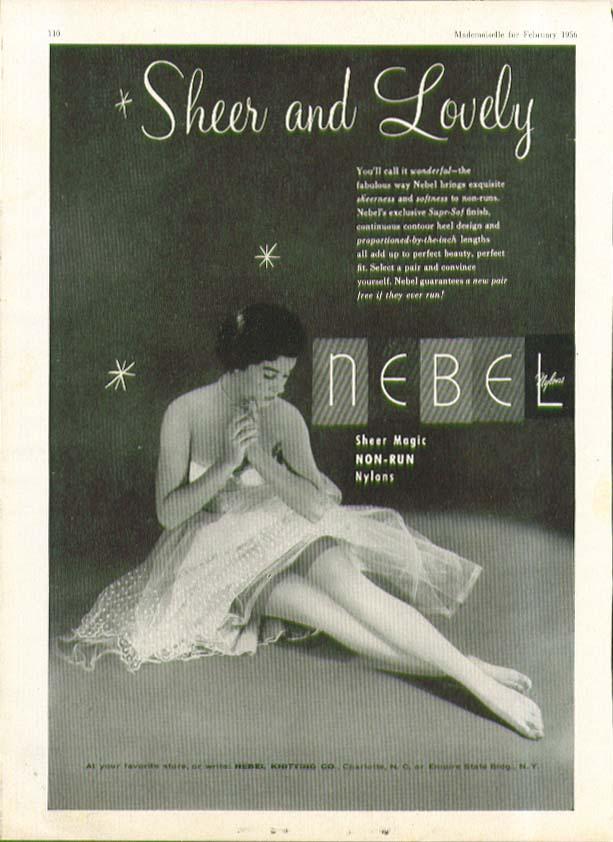 Sheer and Lovely Nebel Non-run Nylons hosiery ad 1956