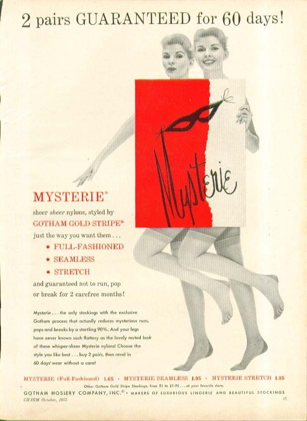 2 pairs guaranteed for 60 days! Mysterie Gotham Gold Stripe hosiery ad 1955