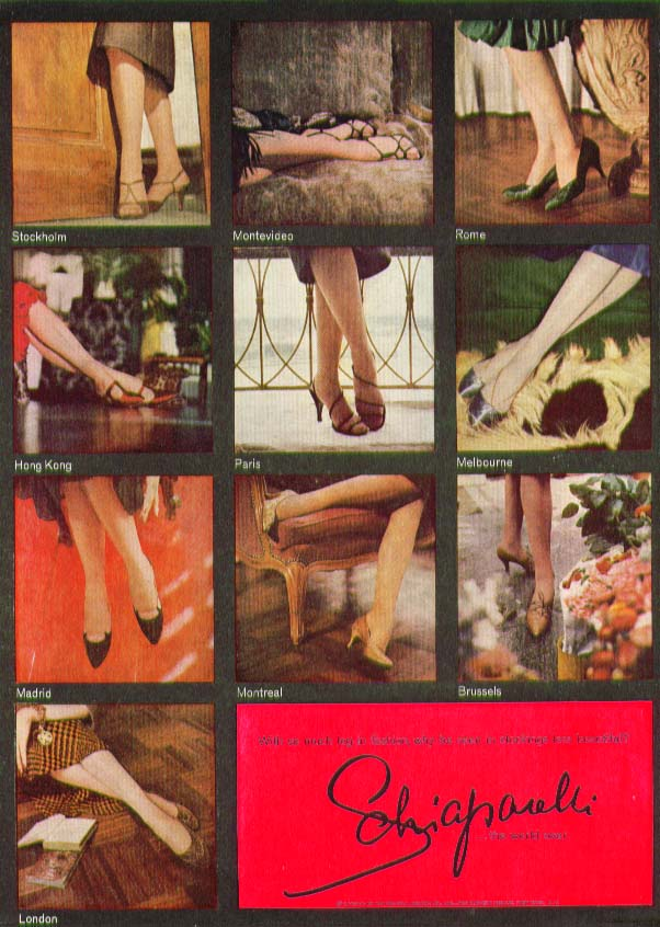 With so much leg in fashion why less than Schiaparelli hosiery ad 1958
