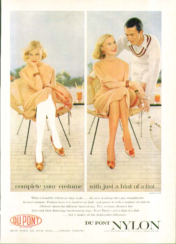 Complete your costume with just a hint of tint Du Pont Nylon hosiery ad 1958