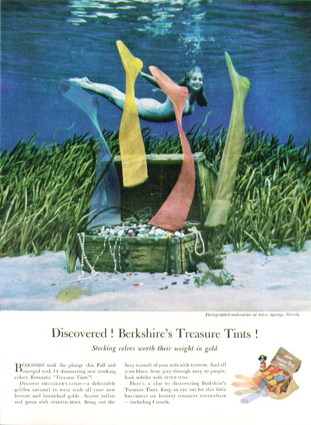 Discovered! Berkshire's Treasure Tints! hosiery ad 1959