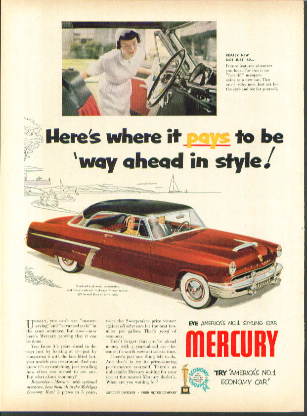 Image for Here's where it pays to be way ahead 1952 Mercury ad