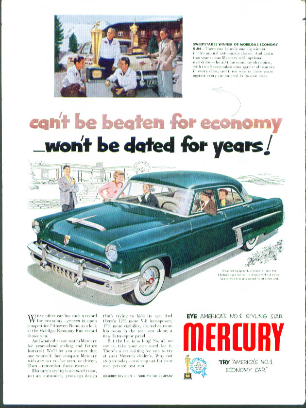 Image for Can't be beaten for economy 1952 Mercury ad