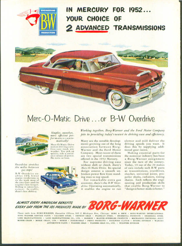 2 advanced transmissions 1952 Mercury ad Borg-Warner