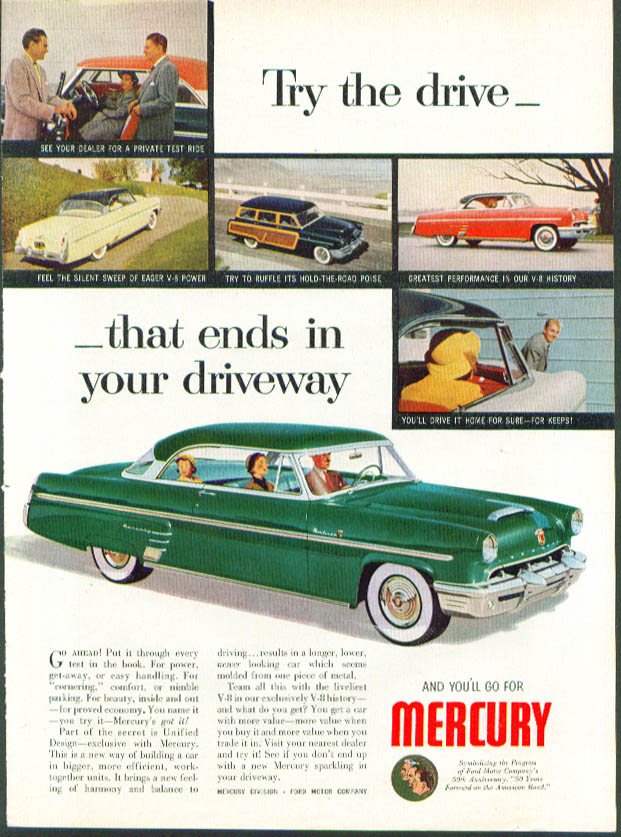Image for Try the drive that ends in driveway 1953 Mercury ad